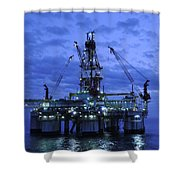 Oil Rig At Twilight Shower Curtain by Bradford Martin