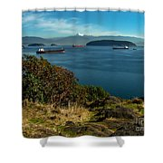 Oil Tankers Waiting Shower Curtain by Robert Bales