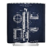 Oil Well Packer Patent From 1904 - Navy Blue Shower Curtain