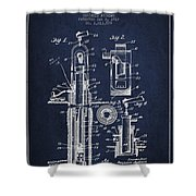 Oil Well Pump Patent From 1912 - Navy Blue Shower Curtain