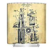 Oil Well Pump Patent From 1912 - Vintage Shower Curtain