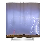 Oil Well Pumpjack Thunderstorm Panorama Shower Curtain