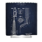 Oil Well Reamer Patent From 1924 - Navy Blue Shower Curtain