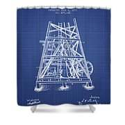 Oil Well Rig Patent From 1893 - Blueprint Shower Curtain