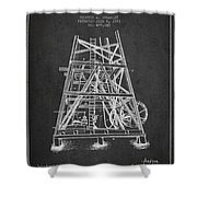 Oil Well Rig Patent From 1893 - Dark Shower Curtain