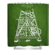 Oil Well Rig Patent From 1893 - Green Shower Curtain