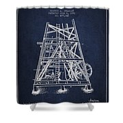 Oil Well Rig Patent From 1893 - Navy Blue Shower Curtain