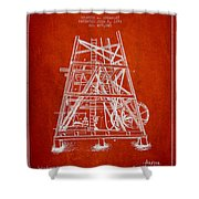 Oil Well Rig Patent From 1893 - Red Shower Curtain