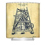 Oil Well Rig Patent From 1893 - Vintage Shower Curtain
