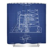 Oil Well Rig Patent From 1917 - Blueprint Shower Curtain