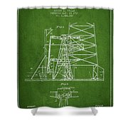Oil Well Rig Patent From 1917- Green Shower Curtain