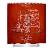 Oil Well Rig Patent From 1917- Red Shower Curtain