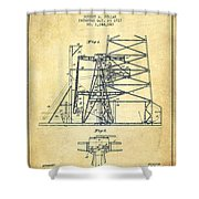 Oil Well Rig Patent From 1917- Vintage Shower Curtain