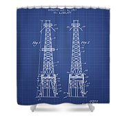 Oil Well Rig Patent From 1927 - Blueprint Shower Curtain