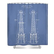 Oil Well Rig Patent From 1927 - Light Blue Shower Curtain