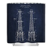 Oil Well Rig Patent From 1927 - Navy Blue Shower Curtain