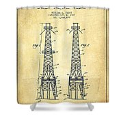Oil Well Rig Patent From 1927 - Vintage Shower Curtain