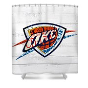 Okc Thunder Basketball Team Retro Logo Vintage Recycled Oklahoma License Plate Art Shower Curtain