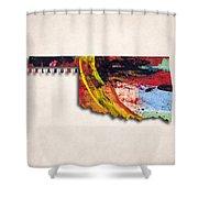 Oklahoma Map Art - Painted Map Of Oklahoma Shower Curtain