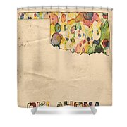 Oklahoma Map Vintage Watercolor Shower Curtain