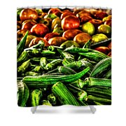 Okra And Tomatoes Shower Curtain