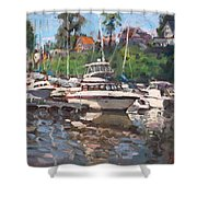 Olcott Yacht Club Shower Curtain