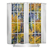Old 16 Pane White Window Colorful Fall Aspen View  Shower Curtain
