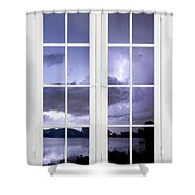 Old 16 Pane White Window Stormy Lightning Lake View Shower Curtain
