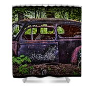 Old Abandoned Car In The Woods Shower Curtain