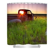 Old Abandoned Pick-up Truck Sitting In Shower Curtain