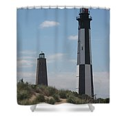 Old And New Cape Henry Lights Together Shower Curtain