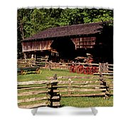 Old Appalachian Farm Cantilevered Barn Shower Curtain
