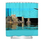 Old Aqua Boat Shed With Aqua Reflections Shower Curtain by Kaye Menner