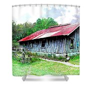 Old Barn Along Golden Road Filtered Shower Curtain