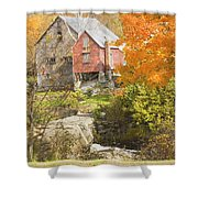Old Barn And Dam In Autunm Vienna Maine Shower Curtain