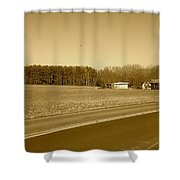Old Barn And Farm Field In Sepia Shower Curtain