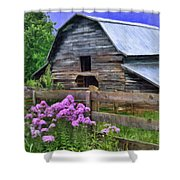 Old Barn And Flowers Shower Curtain