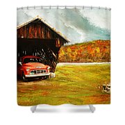 Old Barn And Red Truck Shower Curtain