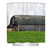 Old Barn And Round Bales Shower Curtain