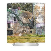 Old Barn And Silos Digital Paint Shower Curtain
