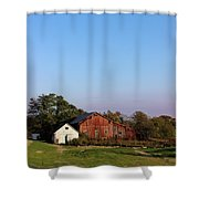 Old Barn At Sunset Shower Curtain by Karen Adams