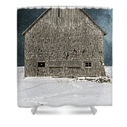 Old Barn In A Snow Storm Shower Curtain