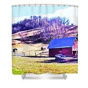 Old Barn In November Filtered Shower Curtain