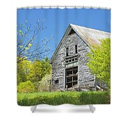 Old Barn In Spring Maine Shower Curtain