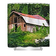 Old Barn Near Chimney Rock Shower Curtain