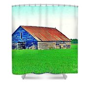 Old Barn On Treaty Road Oakhill Kansas Shower Curtain