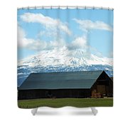 Old Barn With Mount Rainier View Shower Curtain