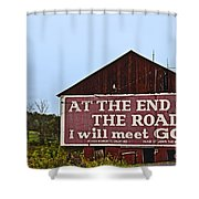 Old Barn With Religious Sign Shower Curtain