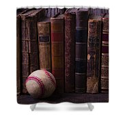 Old Baseball And Books Shower Curtain