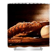 Old Baseball Glove Shower Curtain